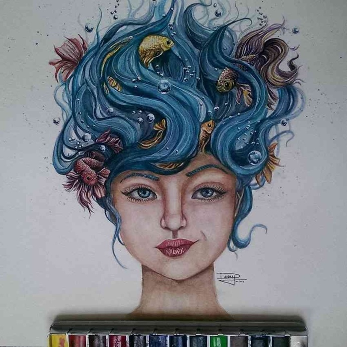 Striking Watercolor Drawings by Dany Lizeth