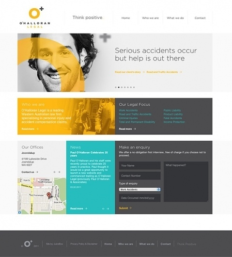 JuiceBox Creative : O'Halloran Legal : Think Positive #creative #website #grid #perth #juicebox