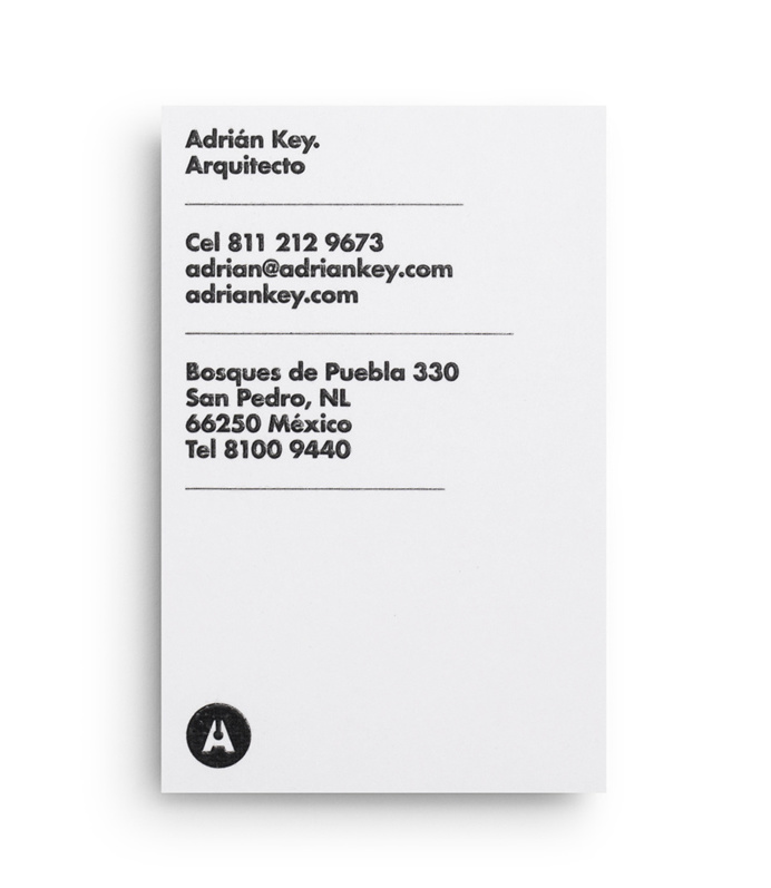 Duplex business card with thermographic ink and silver foil detail designed by Face Creative for MX architecture firm and architect Adrián