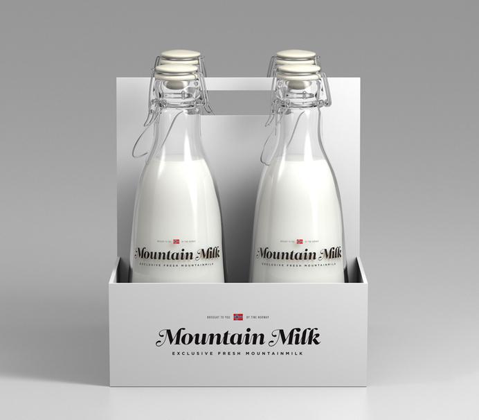 Mountain Milk - Norway #script #branding #packaging #clean #minimal