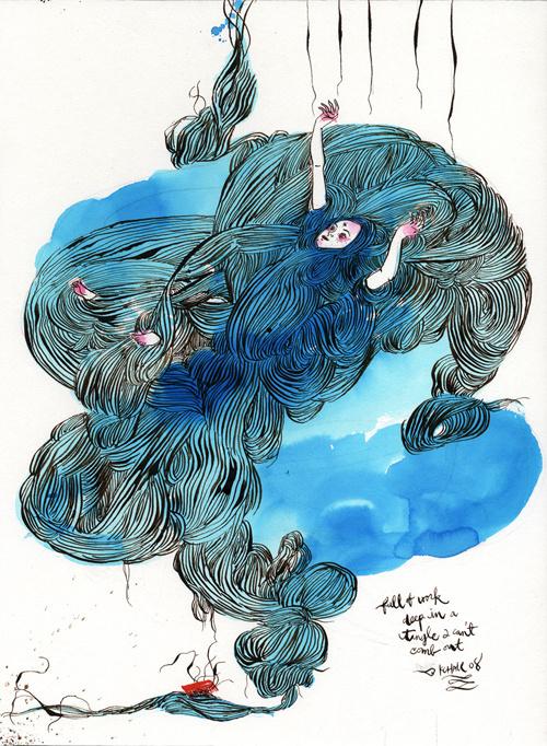 Kris Chau | The Strange Attractor #blue #illustration #watercolour