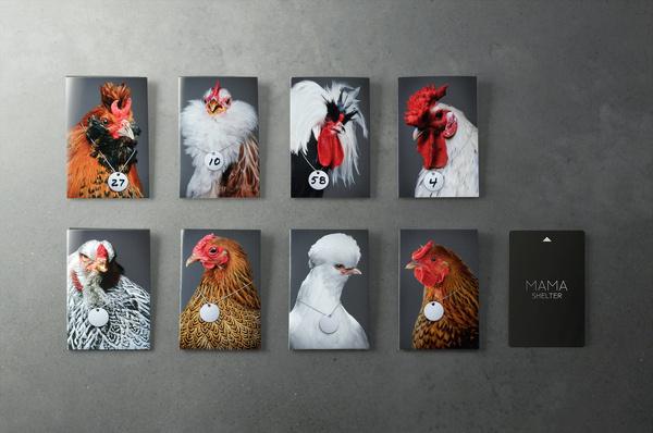 Mama Shelter chicken keycard holders #shelter #france #mama #holders #portrait #french #chicken #hotel #keycard