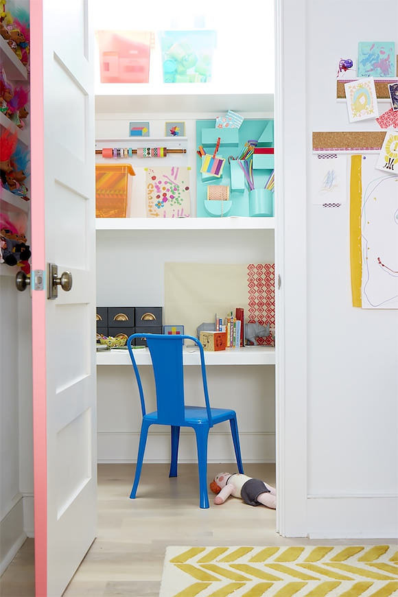 """a hidden closet """"office"""" in a kid's room, stocked with craft supplies #interior #design #decor #deco #decoration"""