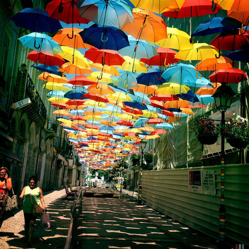 CJWHO ™ (Hundreds of Floating Umbrellas Once Again Cover...) #festival #installation #design #portugal #landscape #photography #art