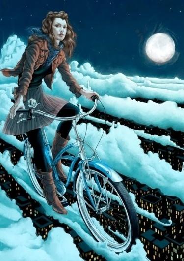 tumblr_kt6x6v3inA1qz6f9yo1_500.jpg (JPEG Image, 490x692 pixels) - Scaled (94%) #bicycle #girl #flying #floating #bike #lady #moon