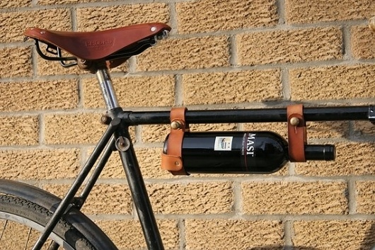 Bicycle Wine Rack Leather 1 frame by oopsmark on Etsy #design #wine #product #bike #genius