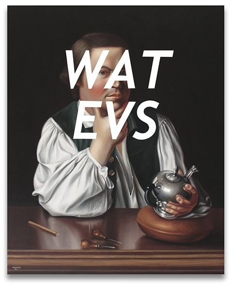 Paul Revere: Whatever by Shawn Huckins #text #message #revere #contemporary #rofl #shawn #huckins #art #painting #paul