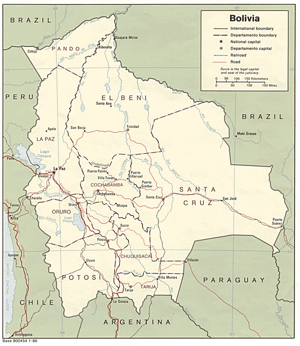 Large detailed political map of Bolivia with roads. Bolivia large detailed political map with roads. #location #globe #bolivia #map