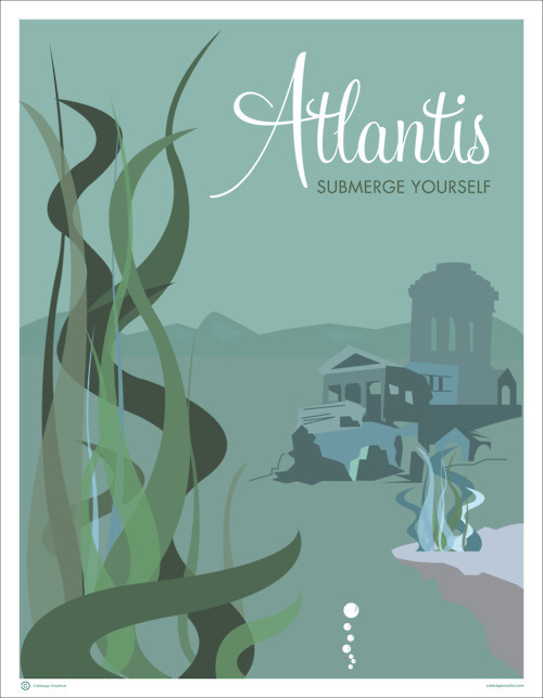 Atlantis Submerge Yourself Creative Vector Travel Cabbage Poster