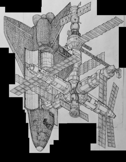 Evan Wakelin's drawings and stuff #shuttle #atlantis #mir #space #station