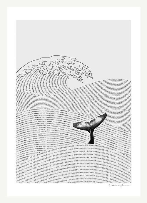 The Ocean of Story - Art Print (by Ilovedoodle) #whale #illustration #sea