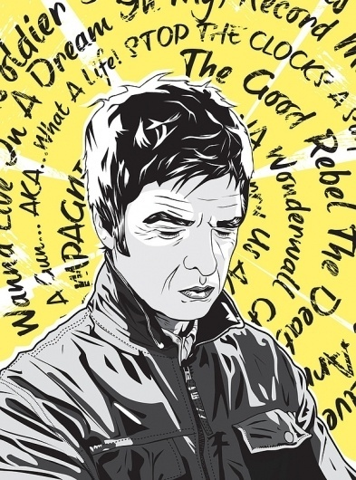 Noel Gallagher After Oasis by Matt Fontaine   Society6 #vector #yellow #grantland #music #noel #quarterly2 #gallagher