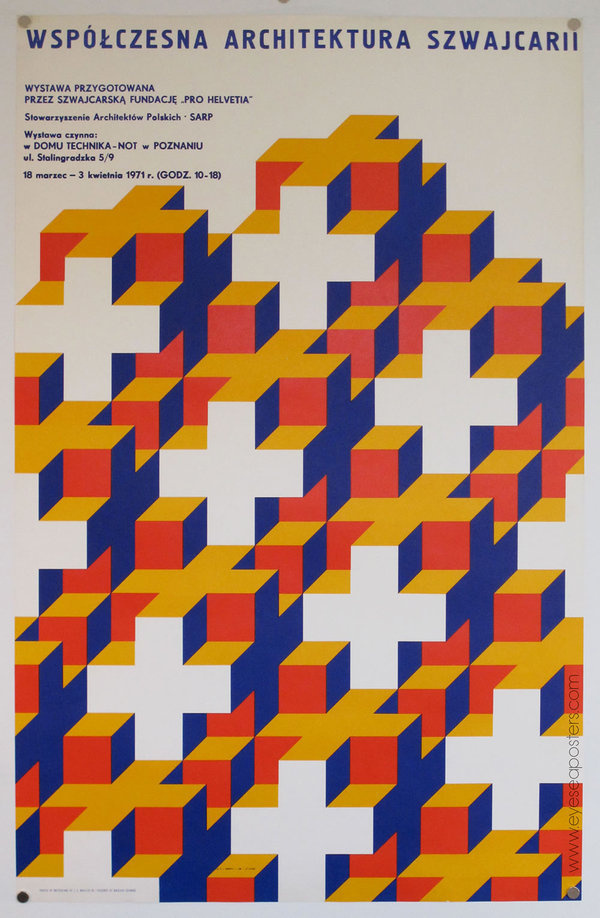 "These interlocking crosses create an elaborate optical pattern for Nikolaus Schwabe's poster design of ""Wspolczesna Architektura Szwwajc #design #architecture #poster"