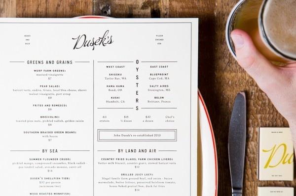 Dusek's : The Studio of Dan Blackman #duseks #branding #menu #design #dan #food #blackman