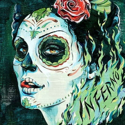 Inferno Illustration / DesginerMX | Jacqui Oakley Illustration & Hand-Lettering #muertos #inferno #jacqui #oakley #mexican #painting #blue #green