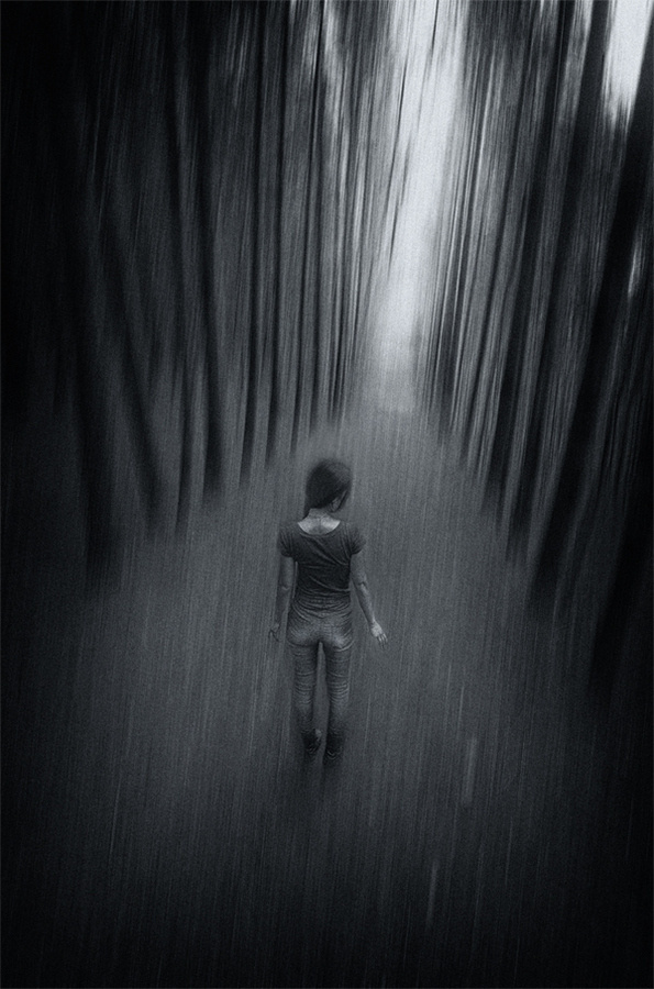 Never Alone #abstract #girl #woods #photography #art #bw #lost #fine
