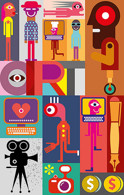 Art - vector illustration. #abstract #vector #background #composition #contemporary #people #artwork #illustration #art #patchwork
