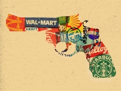 Dribbble - When Brands Attack by Matt Chase #gun #corporate #collage #brands