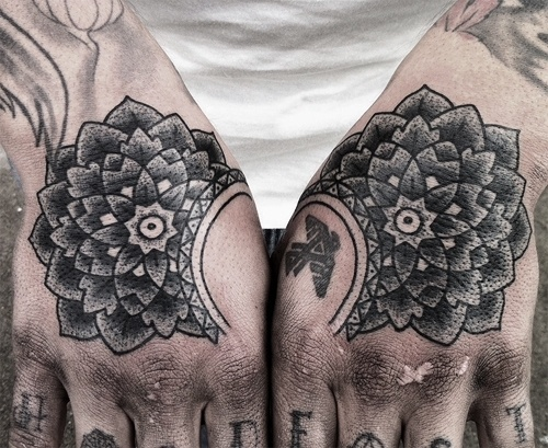 Tattooing by Mike Adams | three things i love: tattooing hands, geometric... #mandala #adams #mike #geometric #tattoo #flowers