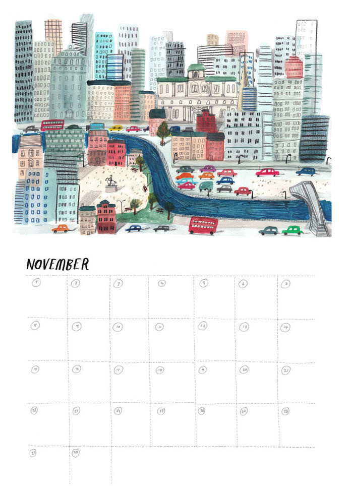 Lizzystewart — 2015 Calendar #illustration #calendar #november