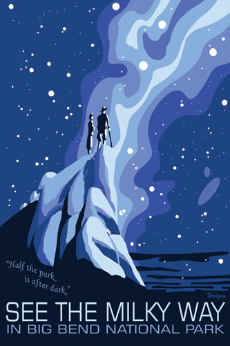 National Parks Milky Way Posters #sky #cliff #illustration #stars #poster #blue
