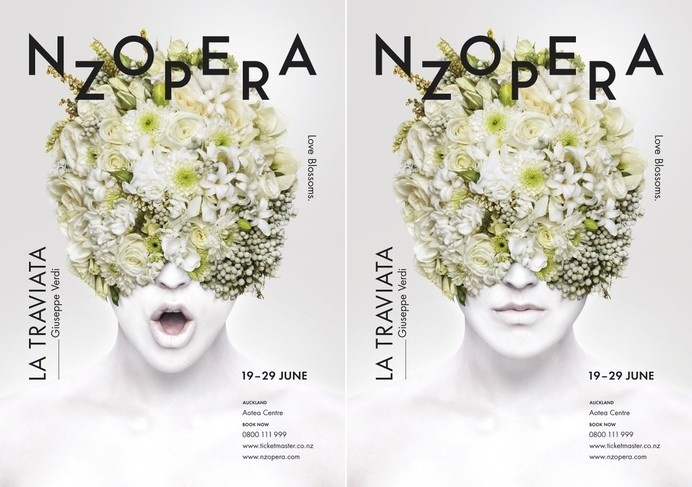 Best Awards - Alt Group. / New Zealand Opera La Traviata #zealand #nz #white #typography #floral #photography #opera #poster #flowers #new