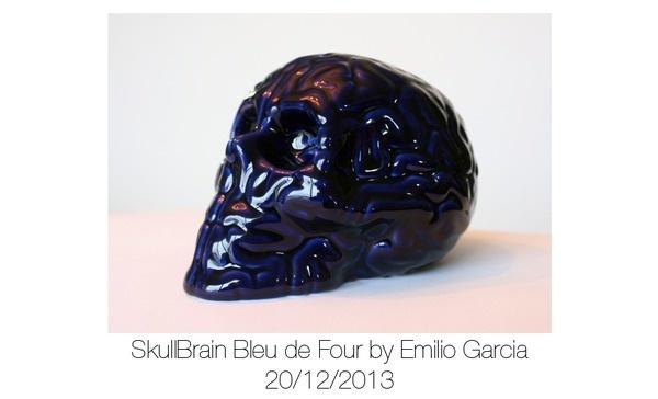 SkullBrain Bleu de Four #sculpture #porcelain