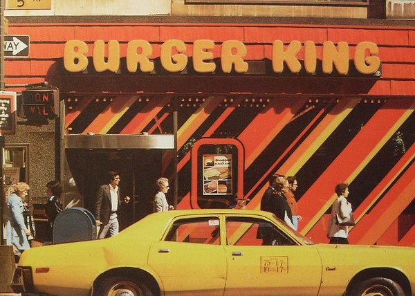 1970s NYC vintage BURGER KING Yellow Taxi Cab NEW YORK CITY 5th Avenue #taxi