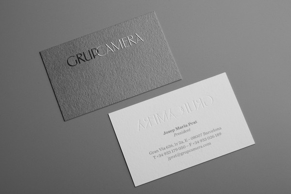 Designed by Mucho for Grup Camera #debased #business #branding #card #embossed #gray #grey