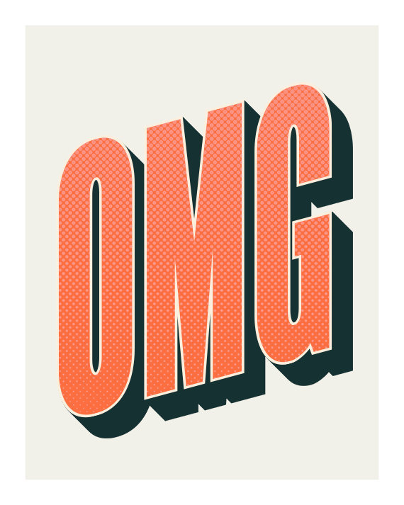 OMG, Original Art Print, 8x10, Typography #letter #word #omg #typography