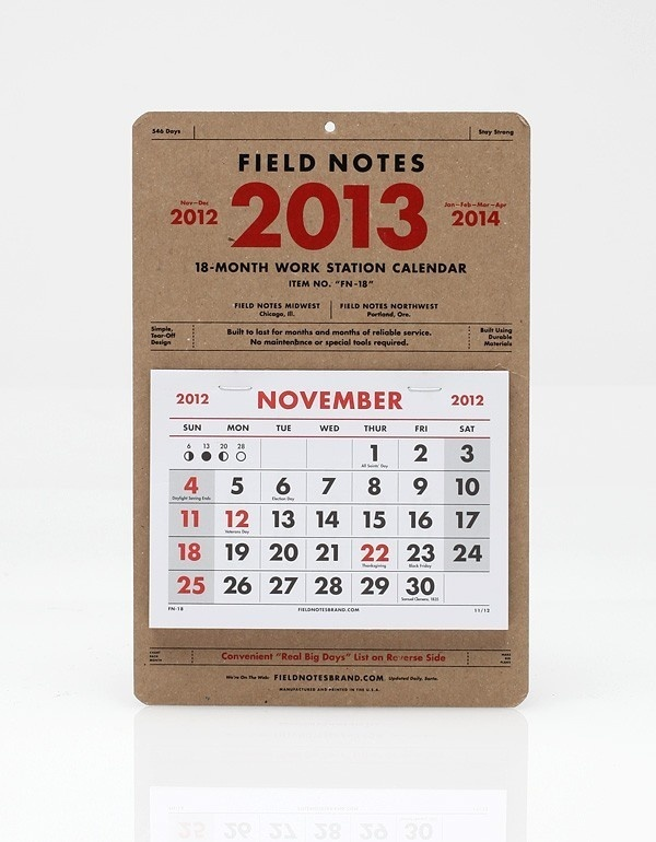 2013 18 Month Calendar #note #calendar #field