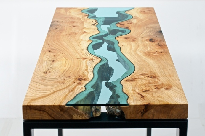 Table Topography: Wood Furniture Embedded with Glass Rivers and Lakes by Greg Klassen wood table rivers lakes furniture #product design #gla