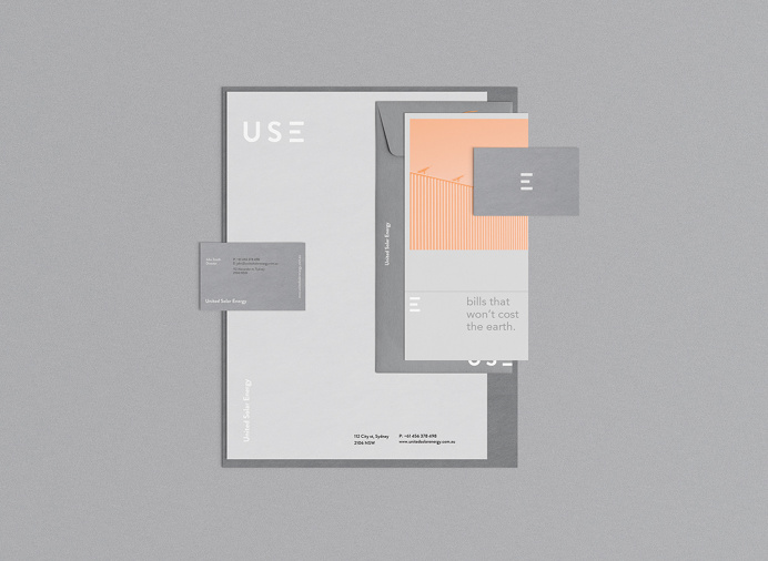 United Solar Energy branding grey orange logo logotype use print stationery mindsparkle mag