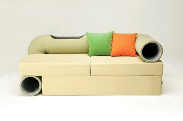 The Cat Tunnel Sofa Is A Conceptual Couch That Simultaneously Lets People Rest Cats Play