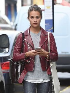 FilmStarLook Providing You Stylish Alicia Vikander Maroon Leather Jacket For Ladies In Best Price. So Visit Our Online Store Today And Purchase Your Best Product Here. #AliciaVikander #WomenFashion #LeatherJacket #FilmStarLook http://bit.ly/2lSzH3r