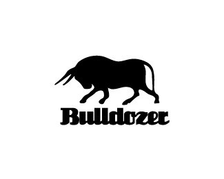 Bulldozer #strong #domestic #white #bulldozer #black #brand #elegant #horns #farm #attack #logo #bull #animal