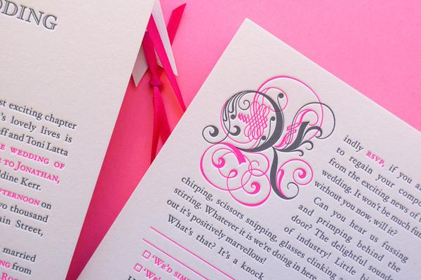 JAIMEE + JK'S STORYBOOK WEDDING #invitation #letterpress #fluoro #cap #drop #blackletter #wedding