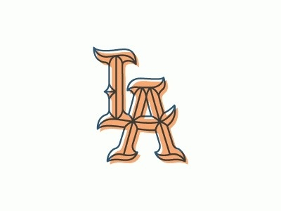 Dribbble - LA Monograms by Nick Slater #color #gothic #la #2 #typography