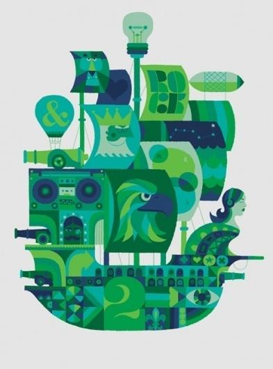 adrian johnson ltd > work #blue #illustration #boat #green