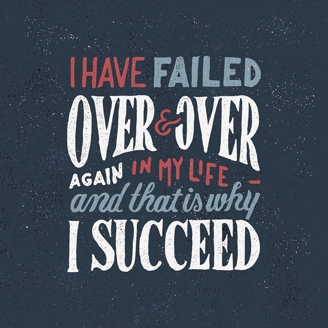 """""""I have failed over and over and over in my life… and that is why I succeed"""" – Michael Jordan #quote #handlettering #typography"""