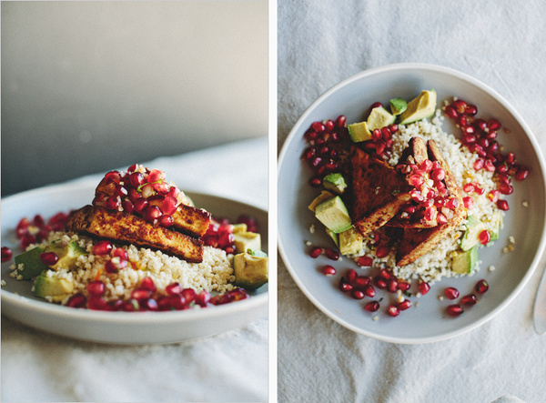CHILI ROASTED TOFU WITH MINTED POMEGRANATE RELISH . sprouted kitchen #food