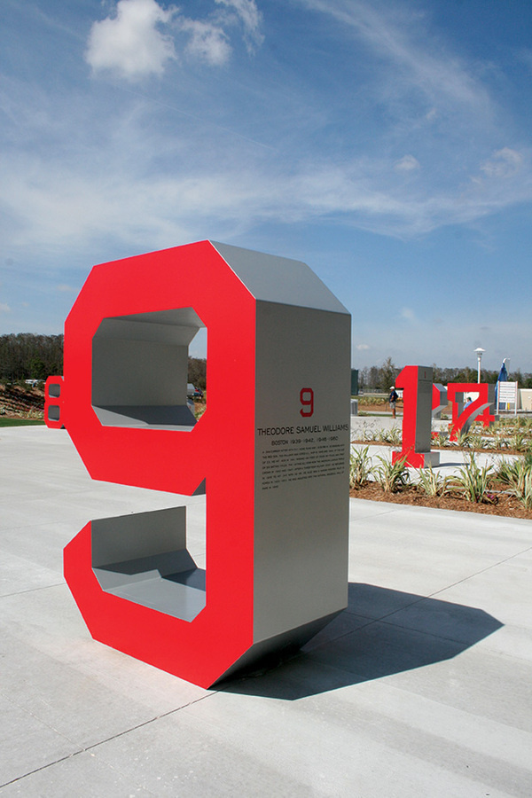 Fenway South on the Behance Network #red #numeral #environmental graphics