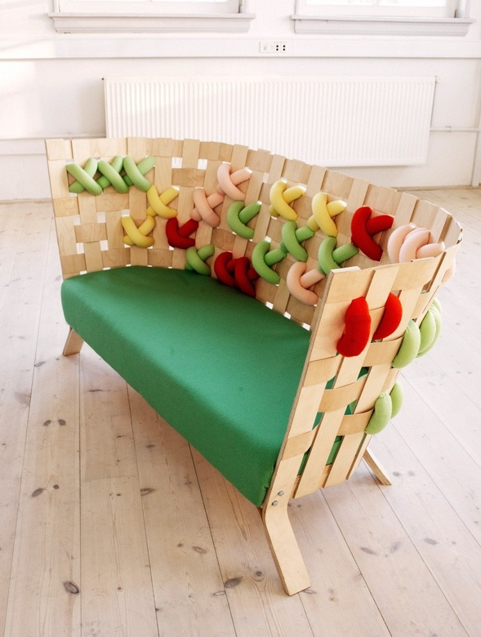 Furniture with cross-stitch ornaments in wool