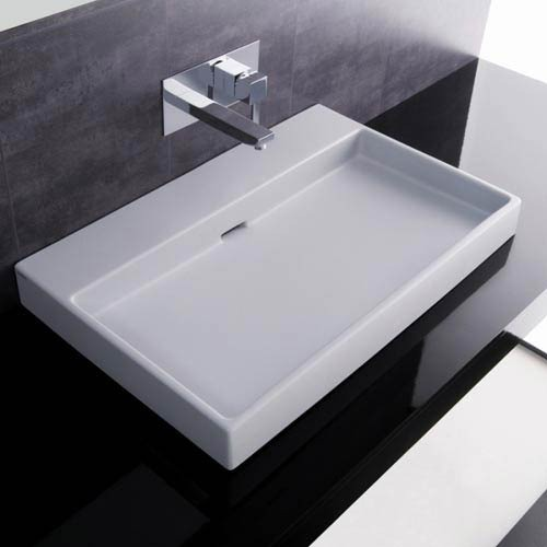 Urban 70 White Wall Mount or Countertop Bathroom Sink without Faucet Hole