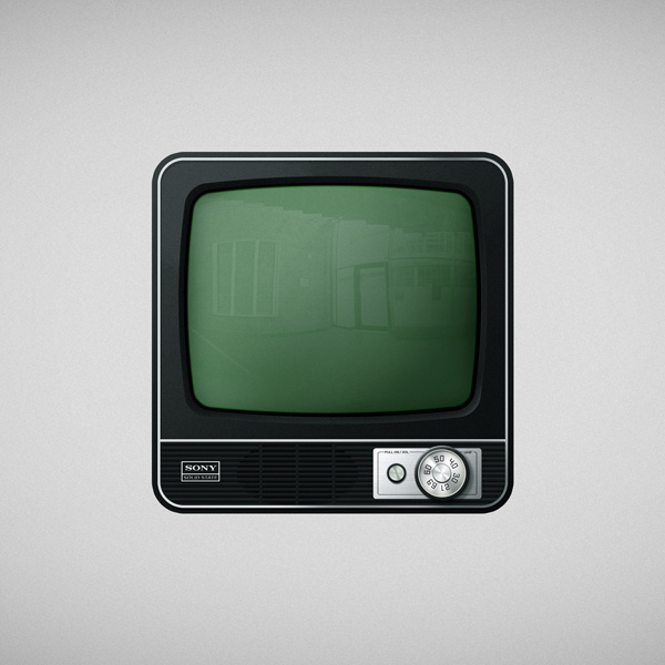Icon Tv #old #icon #television #design #retro #lights #glass #illustration #app #vintage #gray #green