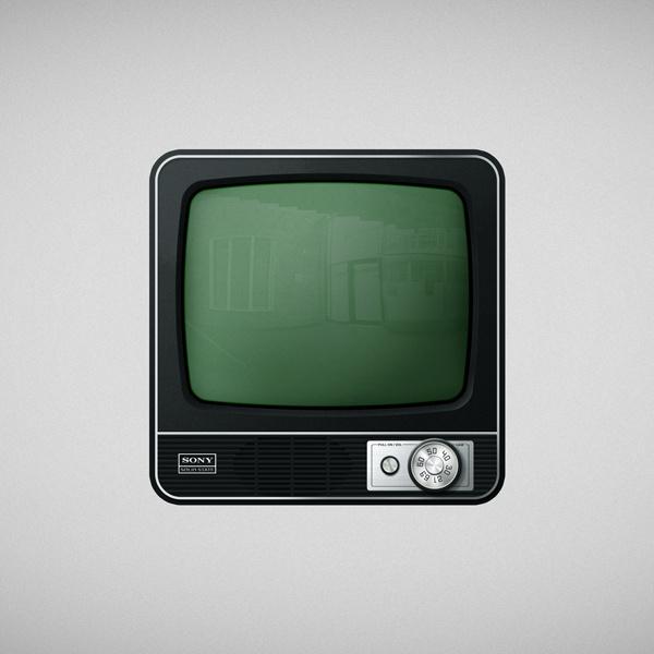 Icon Tv #icon #design #retro #glass #illustration #app #vintage #green