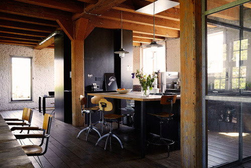 Kevin H. Chung #interior #home #black #wood #kitchen