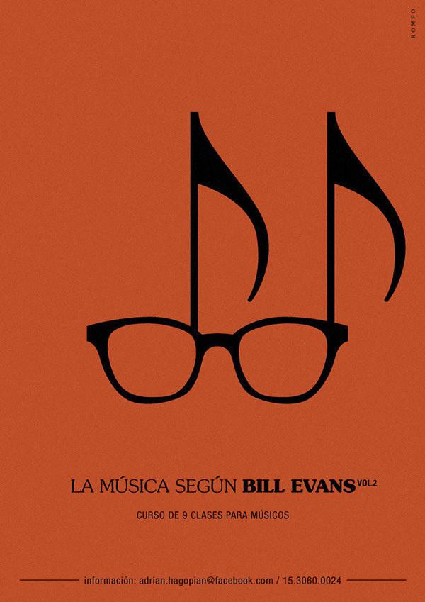 Music according to Bill Evans on Behance #glasses #piano #modern #jazz #bill #classic #evans #study #music