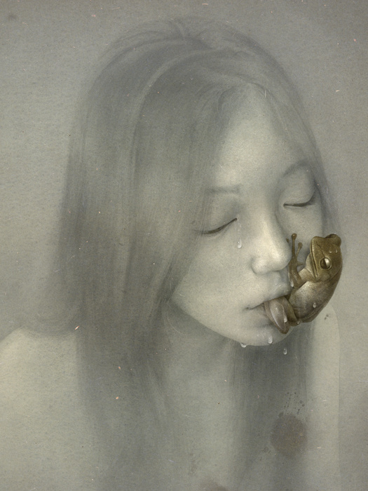 Absinthe Drinker, Sam Weber #girl #illustration #soft #absinthe #frog
