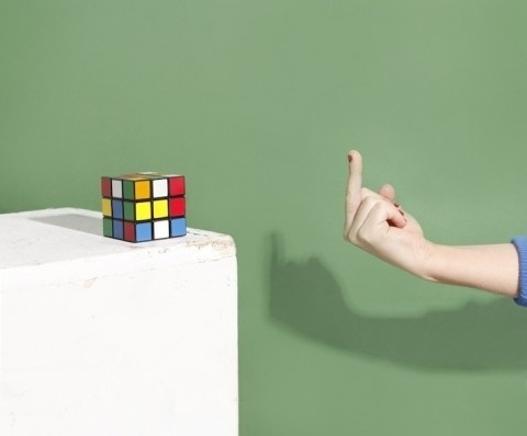 swissmiss | Andrew B. Myers #fuck #you #rubix #cube #colours #b #finger #myers #middle #andrew
